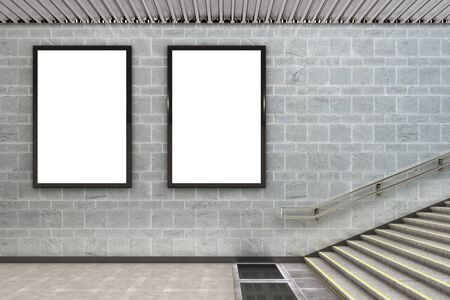 Two blank vertical billboard posters underground. 3d illustration