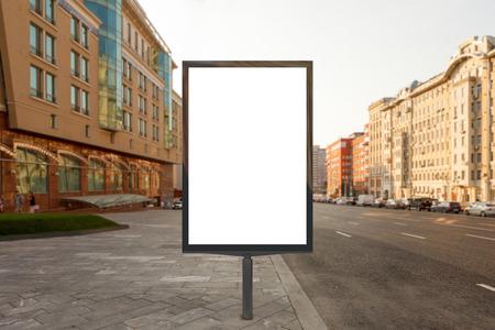 Blank street billboard poster stand on city background. 3d illustration.