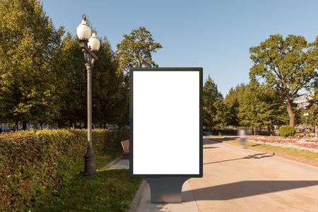 outdoor blank billboard: Blank street billboard poster stand in urban park. 3d illustration.