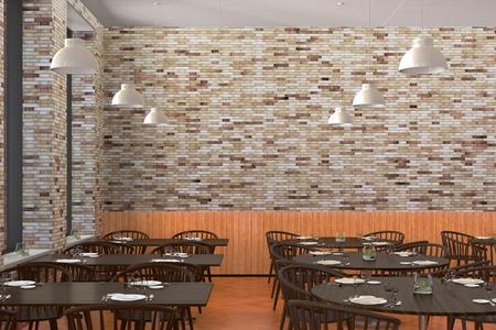 Modern restaurant interior with served tables mock up. 3d illustration Stock Photo