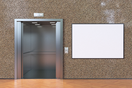 Empty elevator cabin with open doors and blank horizontal poster. 3d illustration