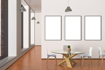 モダンなカフェのインテリアで 3 つの空白の垂直ポスターのモックアップします。3 d イラストレーション