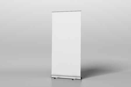 Blank roll up banner stand isolated on white. Include clipping path around ad banner. 3d illustration