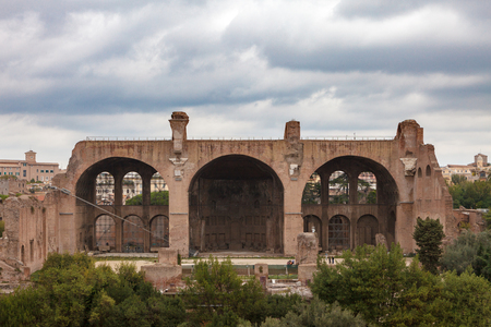 The Basilica of Maxentius and Constantine; View of roman Palatine hill, Rome, Italy.