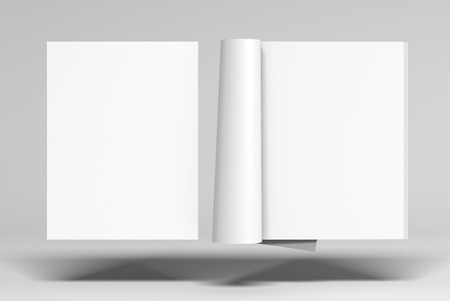Blank magazine, pages with glossy paper and blank cover flying over white background. Open and closed. 3d illustration Stock Photo