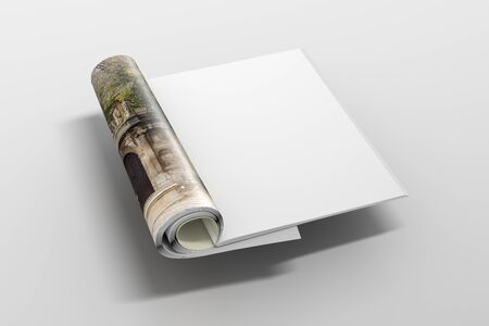 Blank magazine pages with glossy paper flying over white background. 3d illustration