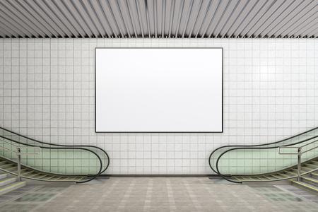 空白の水平ポスター広告モックアップ地下。3Dイラスト