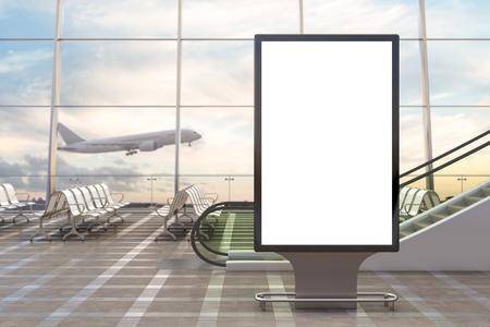 공항 출발 라운지. 빈 광고 판 스탠드 및 배경에 비행기입니다. 차원 그림
