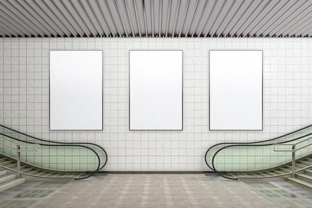 Three blank vertical posters advertising mockup underground. 3d illustration