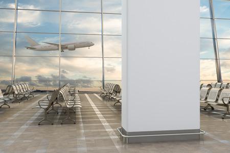 공항 터미널 라운지. 배경에 빈 벽 비행기입니다. 차원 그림