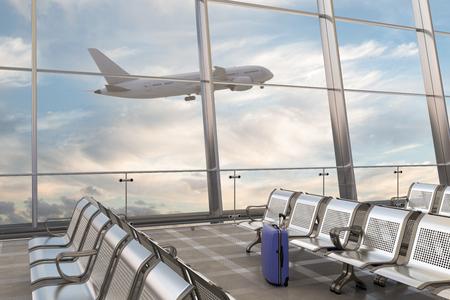 Sala de embarque del aeropuerto. Maleta de equipaje y avión en el fondo. Ilustración 3d Foto de archivo - 90925050