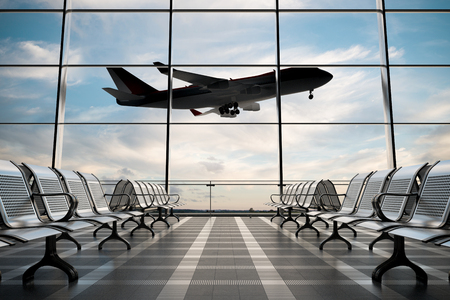 Empty airport departure lounge with airplane on background. 3d illustration  Stock Photo