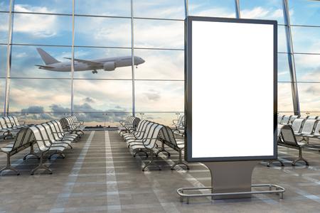 空港出発ラウンジ。背景に空白の看板スタンドと飛行機。3Dイラスト 写真素材