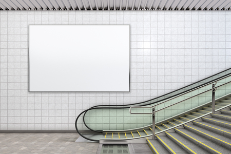 Blank horizontal poster advertising mockup underground. 3d illustration
