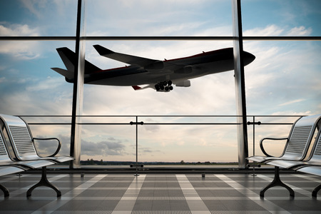 Empty airport departure lounge with airplane on background. 3d illustration  Banco de Imagens