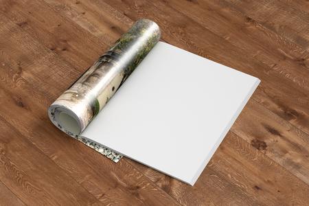 Lege tijdschriftpagina's met glanzend document dat op houten achtergrond wordt geïsoleerd. 3D illustratie