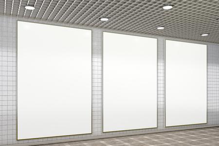 Three blank vertical advertisement posters in subway underground hall. 3d illustration
