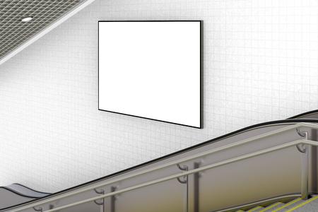 Blank horizontal advertising poster on wall of underground escalator. 3d illustration