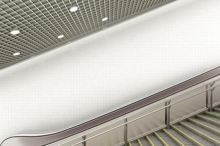 Blank underground escalator wall for advertising poster. 3d illustration
