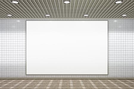 Blank horizontal advertisement poster in subway underground hall. 3d illustration Stock Photo