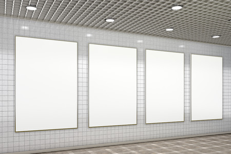 Four blank vertical advertisement posters in subway underground hall. 3d illustration