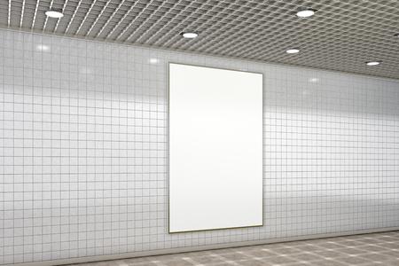 Blank advertisement poster in subway underground hall. 3d illustration Stock Photo