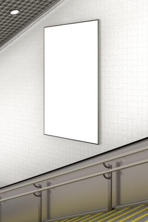blank vertical advertising poster on wall of underground escalator. 3d illustration