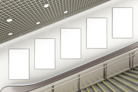 Five blank vertical advertising posters on wall of underground escalator. 3d illustration