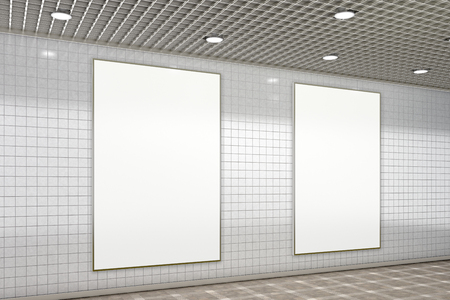 Two blank vertical advertisement posters in subway underground hall. 3d illustration