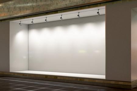 Leeg winkelvenster bij nacht. Verlichte etalage etalage. 3D illustratie
