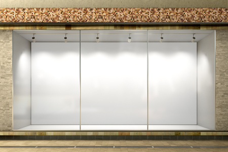 Empty store window. Blank illuminated storefront showcase. 3d illustration