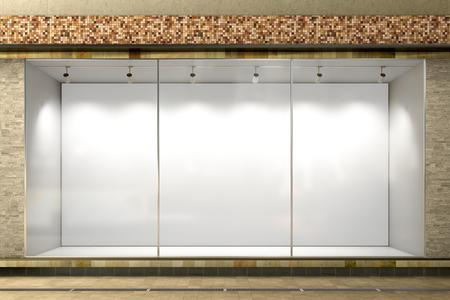 Leeg winkelvenster. Lege verlichte storefront showcase. 3D illustratie Stockfoto