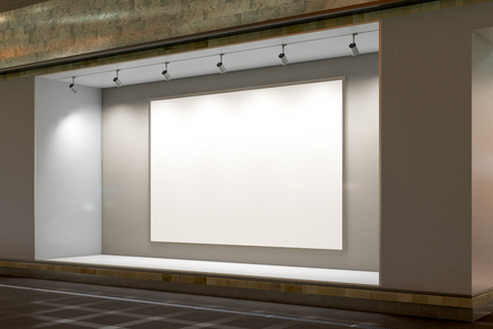 Empty store window at night. Blank poster in illuminated storefront showcase. 3d illustration