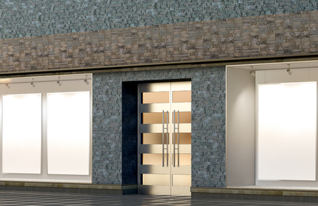 Empty store window and entrance. Blank posters in illuminated storefront showcase. 3d illustration