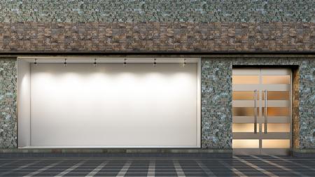Empty store window and entrance. Blank illuminated storefront showcase. 3d illustration