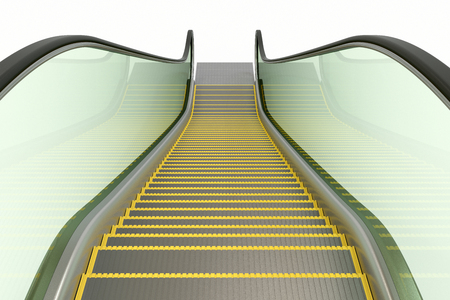 Escalator isiolated on white. From the top down. 3d illustration