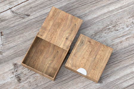 Two wooden square boxes with sliding lid on old wooden background. Empty opened and closed box. Include clipping path around each box. 3d illustration Stock Photo