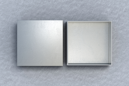 Two silver square boxes opened and closed on gray background. 3d illustration