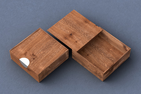 Two dark wooden square boxes with sliding lid on gray background. Empty opened and closed box. Include clipping path around each box. 3d illustration Stock Photo