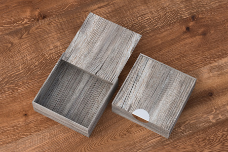 Two vintage wooden square boxes with sliding lid on dark wooden background. Empty opened and closed box. Include clipping path around each box. 3d illustration