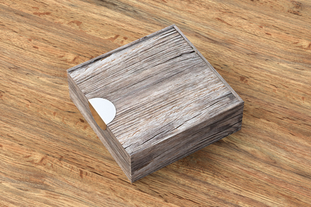 Blank vintage wooden square box with closed sliding lid on wooden background. Include clipping path around box. 3d illustration Stock Photo