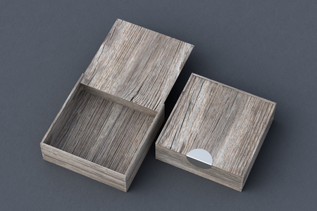 Two vintage wooden square boxes with sliding lid on gray background. Empty opened and closed box. Include clipping path around each box. 3d illustration