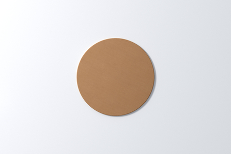 Ronde ambachtdocument onderzetter op witte achtergrond. 3D illustratie
