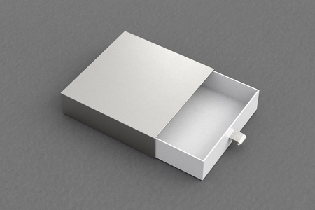 Opened empty silver drawer sliding box on gray background. Isolated with clipping path around box. 3d illustration  Stock Photo