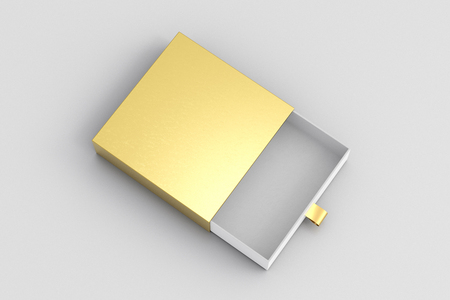 Opened empty gold drawer sliding box on white background. Isolated with clipping path around box. 3d illustration