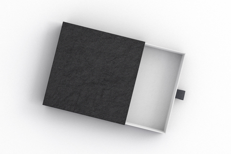 Opened empty black drawer sliding box on white background. Isolated with clipping path around box. 3d illustration  스톡 콘텐츠