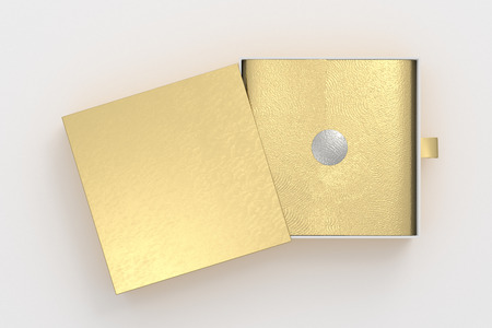 Opened gold drawer sliding box with gift wrap foil on white background. Include clipping path around box. 3d illustration