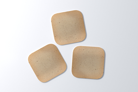 Drie vierkante vintage onderzetters op witte achtergrond. 3D illustratie