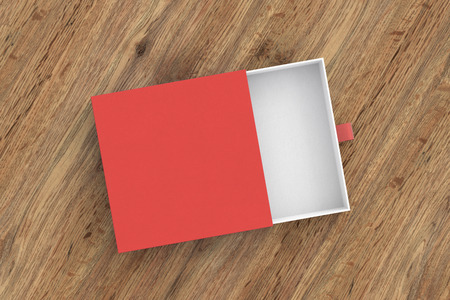 Opened empty red drawer sliding box on wooden background. Isolated with clipping path around box. 3d illustration