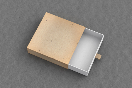Opened empty vintage drawer sliding box on gray background. Isolated with clipping path around box. 3d illustration  Stock Photo